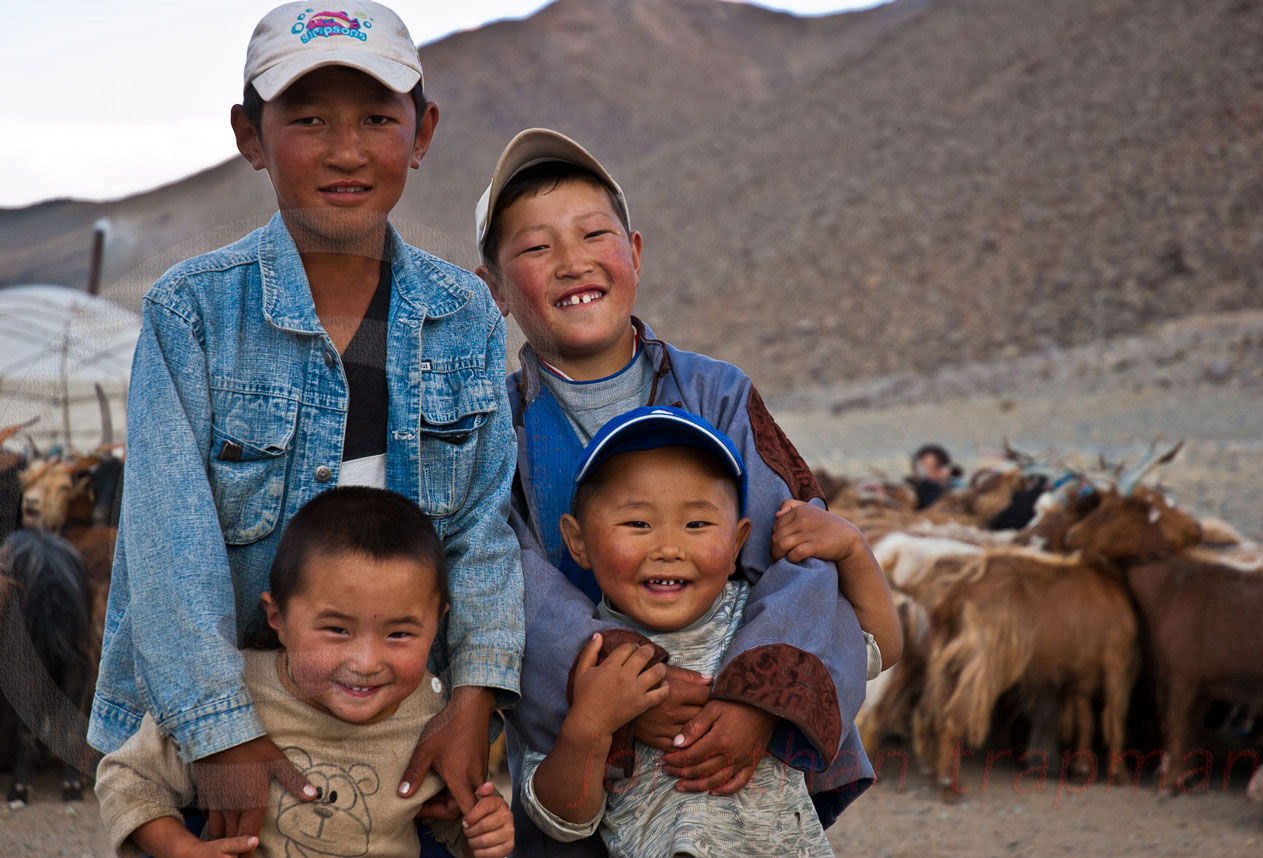 Four Young Nomad Mongols Happy as Heck!