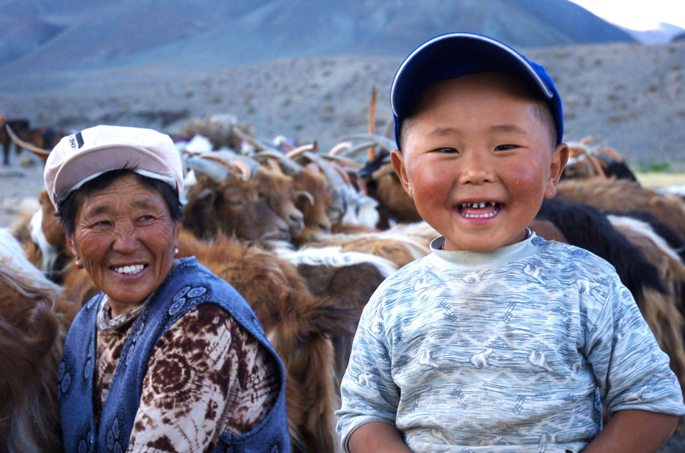 Mongol Goatherd lad with Gran
